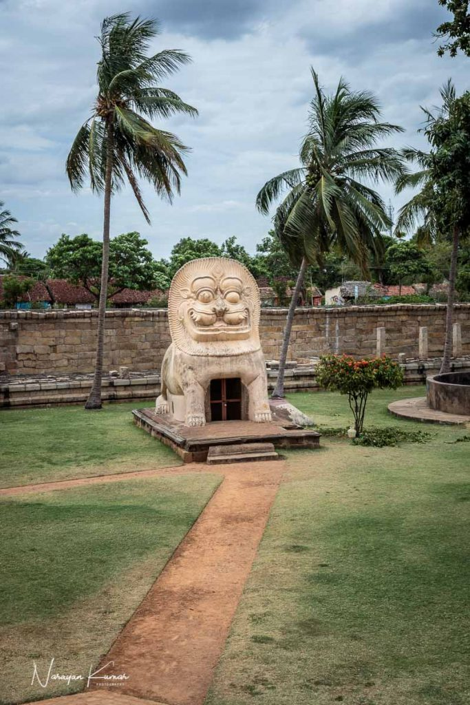 Lion stone sculpture in old hindu temple