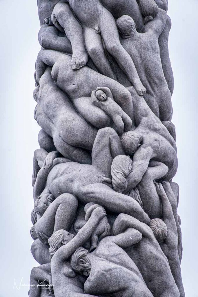 Detail of monolith at Vigeland Sculpture Park, Oslo, Norway