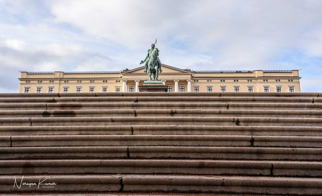 Palace steps in Oslo, Norway