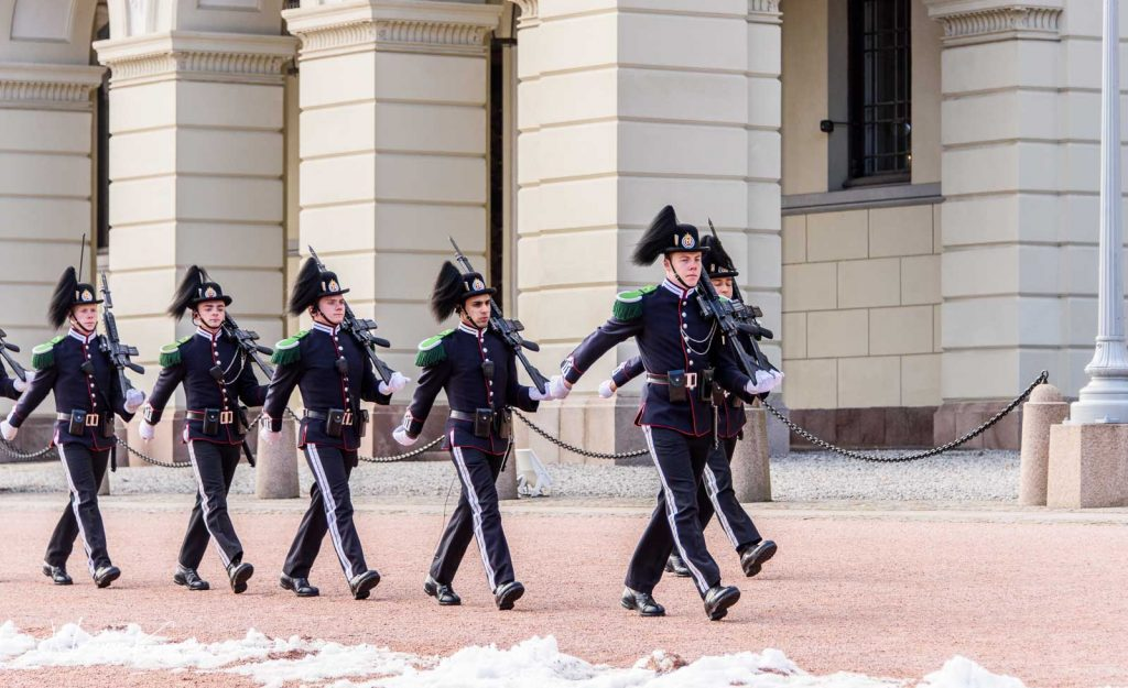 Palace guards marching in Oslo, Norway