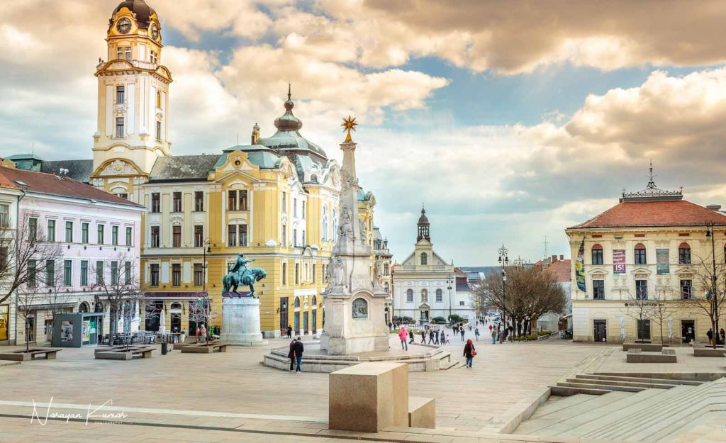 City square in Pecs, Hungary